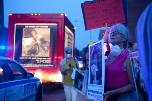 Activists and the moving lit van. I didn't love the homemade red sign, a less accusatory message might have worked better.