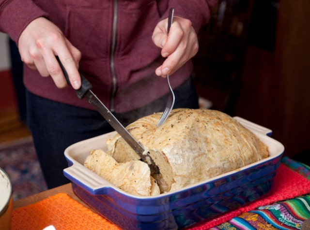 Nick's famous un-Turkey from scratch: Homemade seitan & yuba skin, delicious stuffing.
