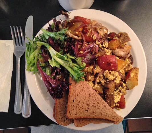 A perfect tofu scramble and accompaniments